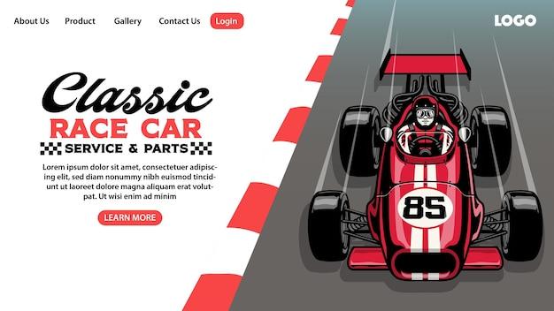 Design da página de destino do clássico negócio de garagem de carros de corrida