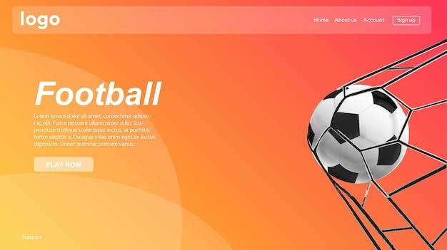 Design da página de destino do modelo de site de vetor de futebol para site e desenvolvimento