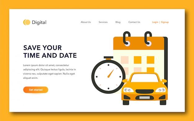 Design da página de destino do serviço de táxi