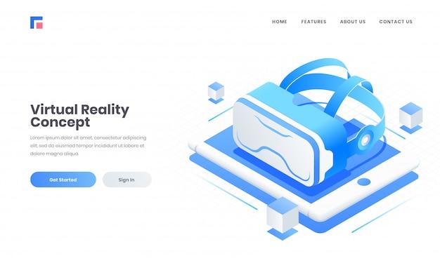 Design da página de destino do site de publicidade com óculos 3d vr na tela do tablet para o conceito de realidade virtual.