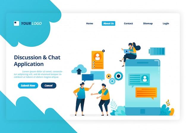 Design da página de destino dos aplicativos de discussão e bate-papo. tecnologia chatbot para celular.