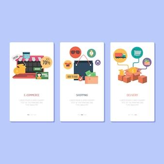 Design da página de destino - ecommerce, compras e entrega