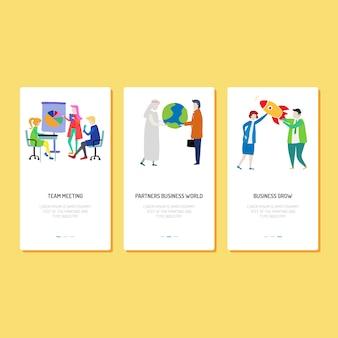 Design da página de destino - equipe, parceiro e crescimento