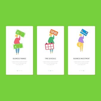 Design da página de destino - finanças, cronograma e investimento