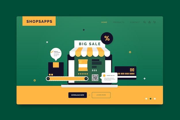 Design da página de destino on-line do shopping