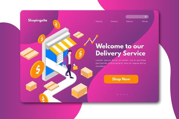 Design da página de destino online de compras