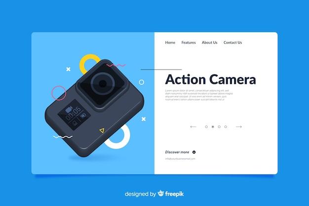 Design da página de destino para a câmera fotográfica