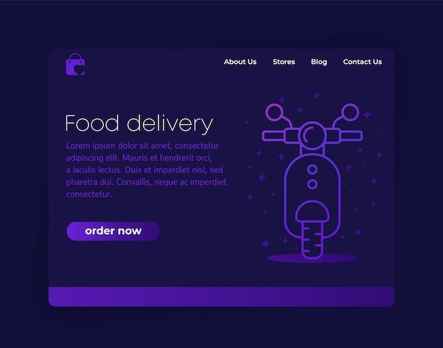 Design da página de destino para entrega de comida