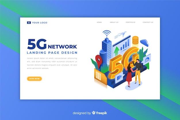 Design da página de destino para internet 5g