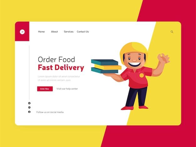 Design da página de destino para pedidos de comida com entrega rápida