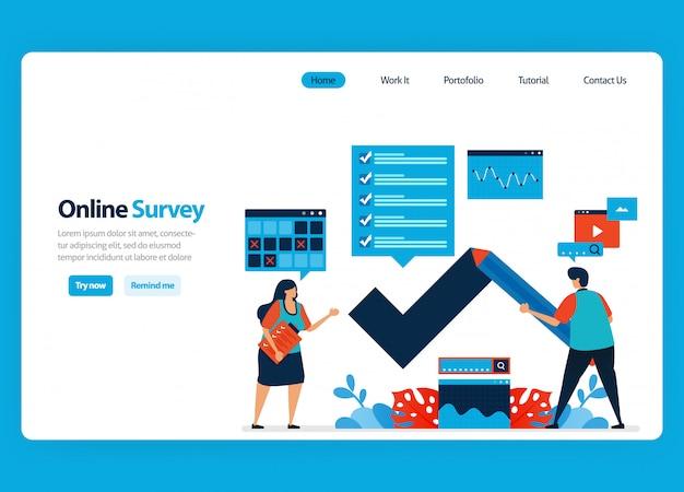 Design da página de destino para pesquisa e exame on-line, preenchendo pesquisas com internet e software de validação. ilustração plana
