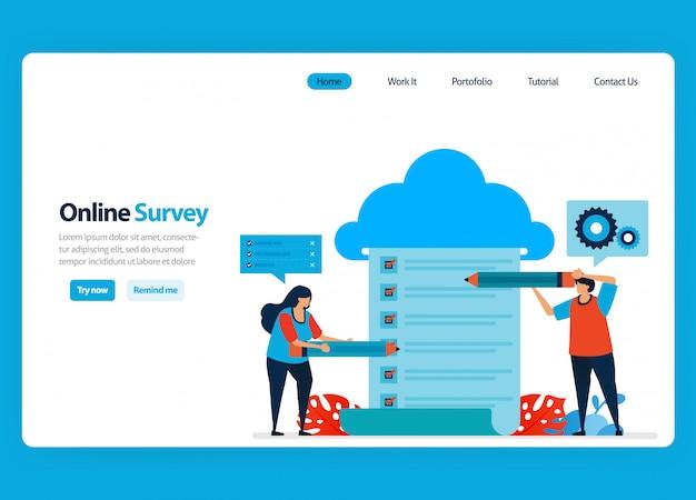 Design da página de destino para pesquisa e exame on-line, serviços de hospedagem e servidor para processar os resultados da pesquisa em big data e bancos de dados. ilustração plana