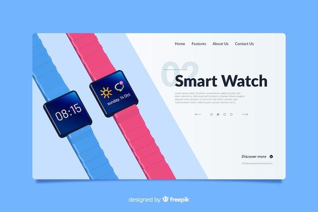 Design da página de destino para relógios inteligentes