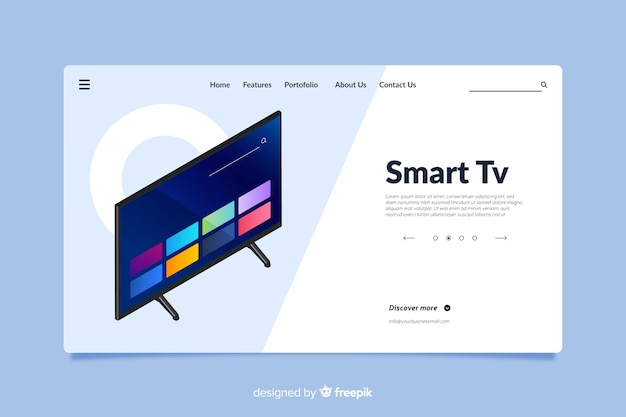 Design da página de destino para smart tv