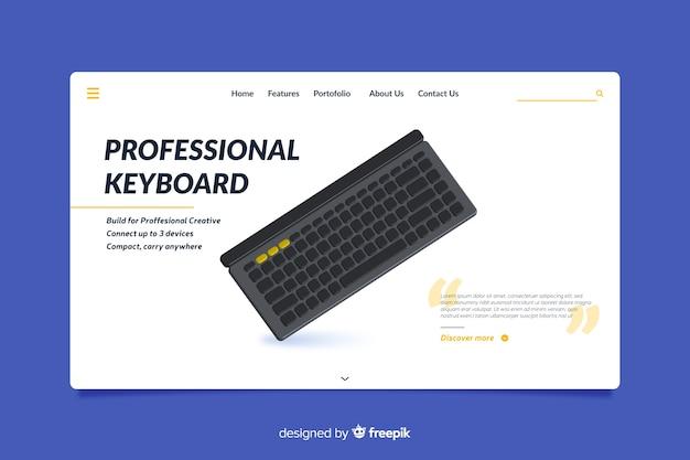 Design da página de destino para teclados profissionais