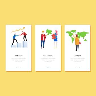 Design da página de destino - trabalho em equipe, colaboração e expansão
