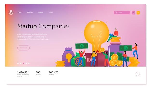 Design da página de empresas start-up com página inicial de crowdfunding