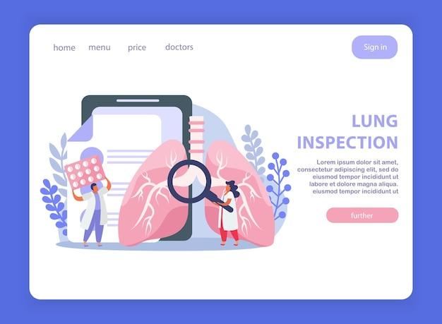 Design da página de inspeção pulmonar com símbolos de tratamento