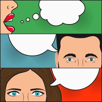 Design da página de quadrinhos diálogo de duas garotas e um homem com balões de fala em branco para texto