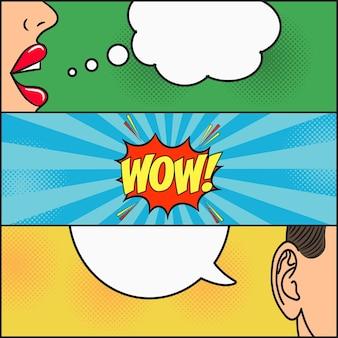 Design da página de quadrinhos diálogo de menina e cara com balão de fala com emoções wow