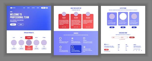 Design da página principal da web
