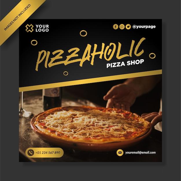 Design da postagem do instagram para pizzashop cinza dourado