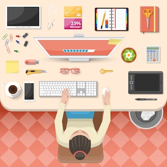 Design da vista superior do local de trabalho