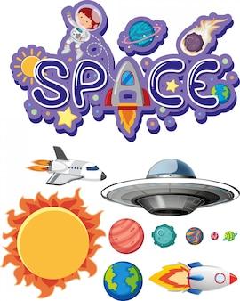 Design de adesivo com tema de espaço no fundo branco