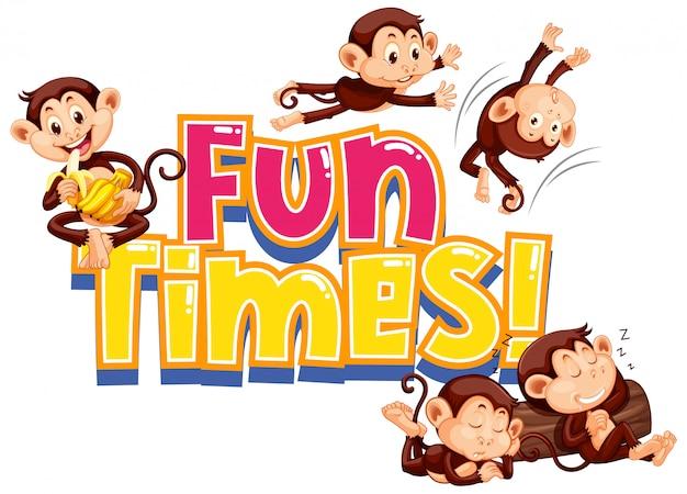 Design de adesivo para tempos de diversão com macacos bonitos