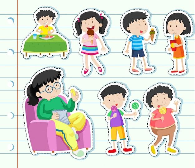 Design de adesivos com muitas crianças comendo doces