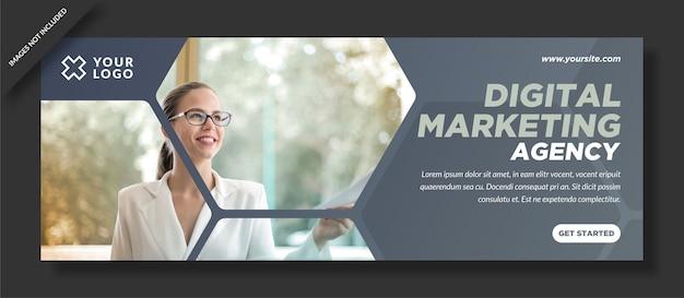 Design de agência de capa de facebook de marketing digital simples