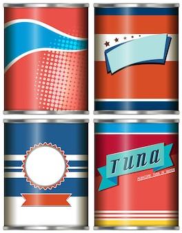 Design de alimentos enlatados em vermelho e azul