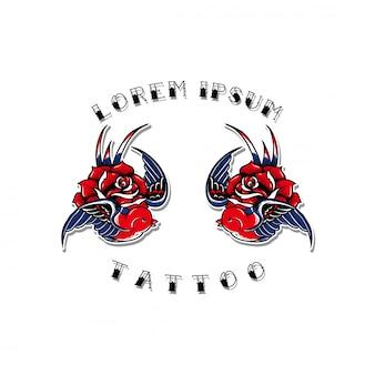 Design de andorinha velha escola tatuagem flash set