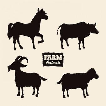 Design de animais de fazenda.