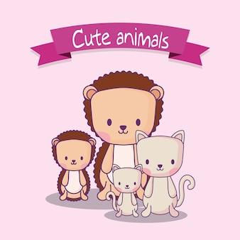 Design de animais fofos com porco-espinho e gatos