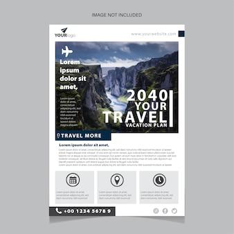 Design de anúncio de agência de viagens e flyer de empresa turística