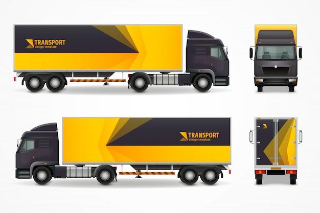 Design de anúncio de maquete de veículo de carga realista