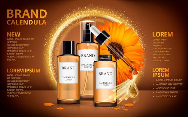 Design de anúncios cosméticos de ilustração 3d com design realista e efeitos brilhantes