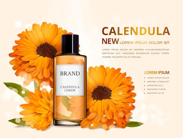 Design de anúncios cosméticos de ilustração 3d com flores realistas