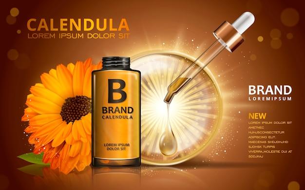 Design de anúncios cosméticos de ilustração 3d com líquido cintilante e flores