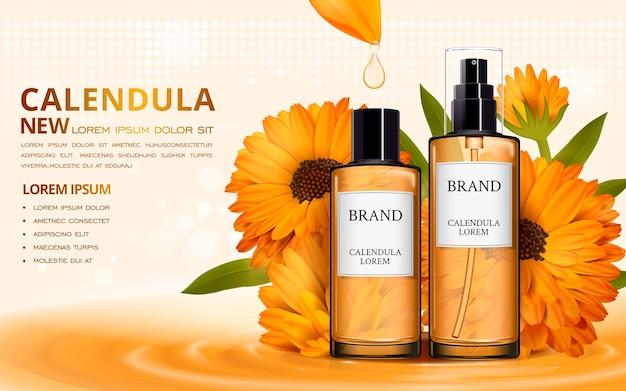 Design de anúncios cosméticos de ilustração 3d com líquido escorrendo de pétalas