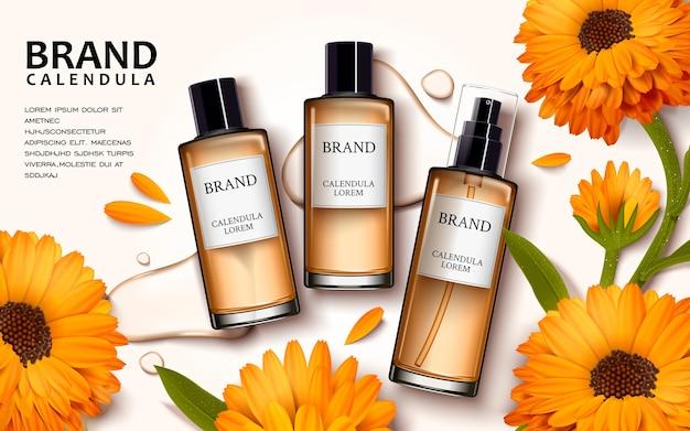 Design de anúncios cosméticos de ilustração 3d com vista superior dos produtos