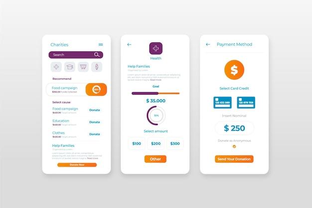 Design de aplicativo de caridade