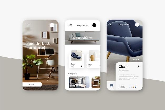Design de aplicativo de compras de móveis