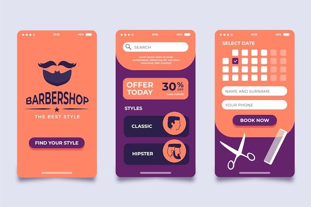 Design de aplicativo de reserva de barbearia