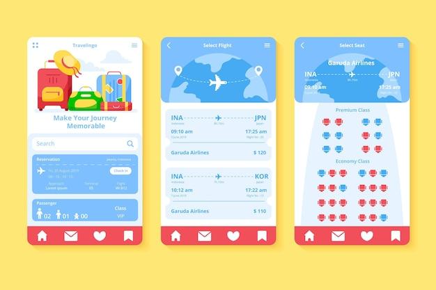 Design de aplicativo de reserva de viagem