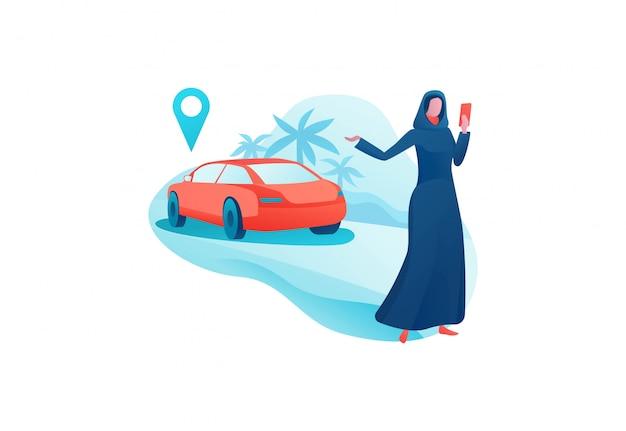 Design de aplicativo de transporte móvel, garota árabe em abaya