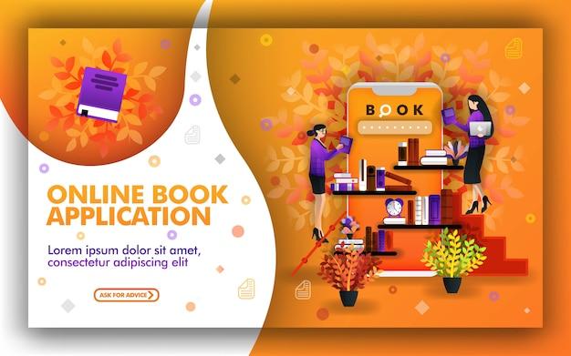 Design de aplicativo lendo livros on-line, e-book ou e-library
