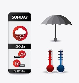 Design de aplicativo móvel do tempo.