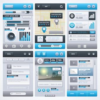 Design de aplicativo móvel, ui, ux, gui.